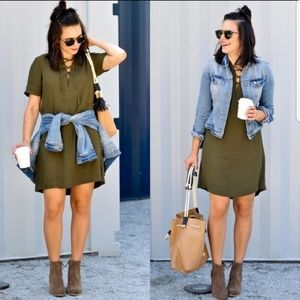 MADEWELL Novella lace-up dress in olive green
